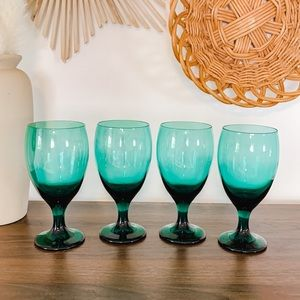 Set of 4 Boho Teal Blue Green Glass Wine Goblets